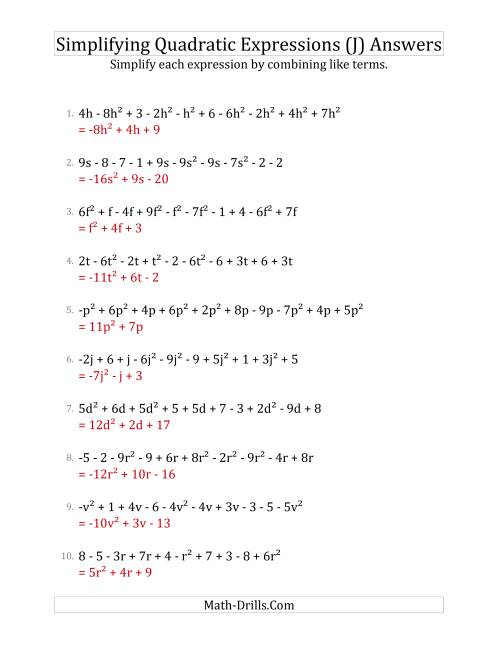 The Simplifying Quadratic Expressions with 10 Terms (J) Math Worksheet Page 2