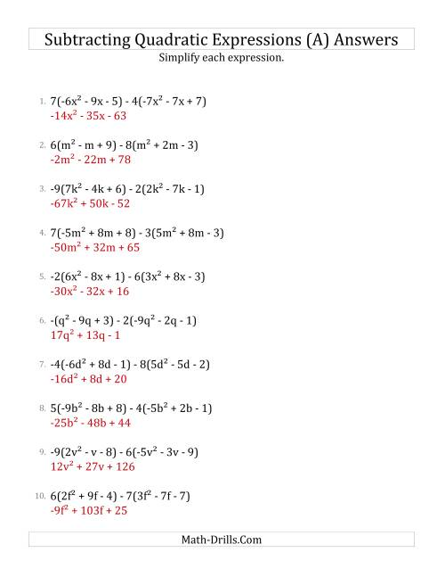 The Subtracting and Simplifying Quadratic Expressions with Multipliers (A) Math Worksheet Page 2