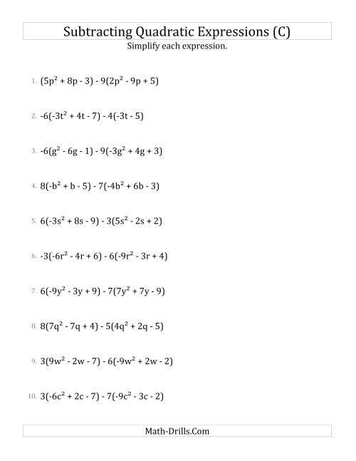 The Subtracting and Simplifying Quadratic Expressions with Multipliers (C) Math Worksheet