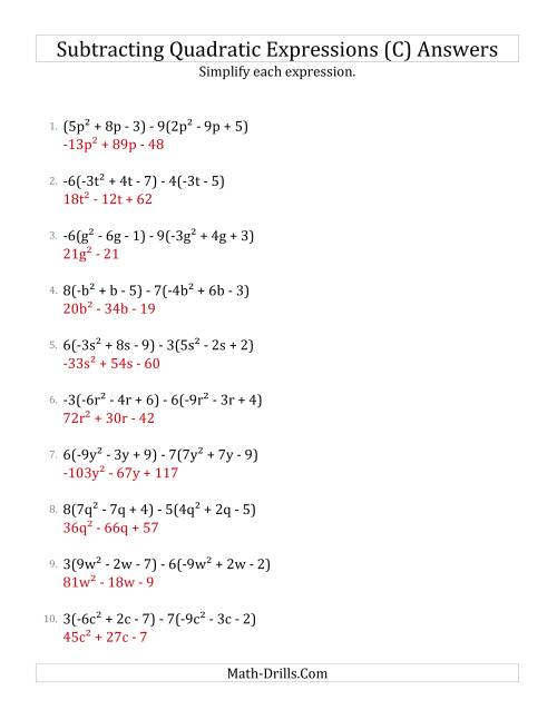 The Subtracting and Simplifying Quadratic Expressions with Multipliers (C) Math Worksheet Page 2