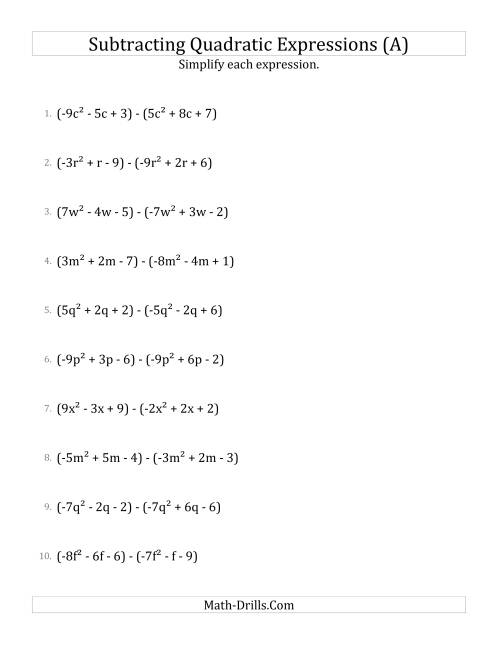The Subtracting and Simplifying Quadratic Expressions (A)