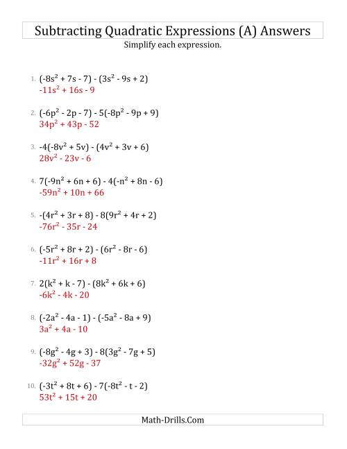 The Subtracting and Simplifying Quadratic Expressions with Some Multipliers (A) Math Worksheet Page 2