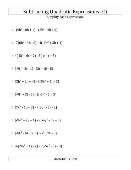 The Subtracting and Simplifying Quadratic Expressions with Some Multipliers (C) Math Worksheet