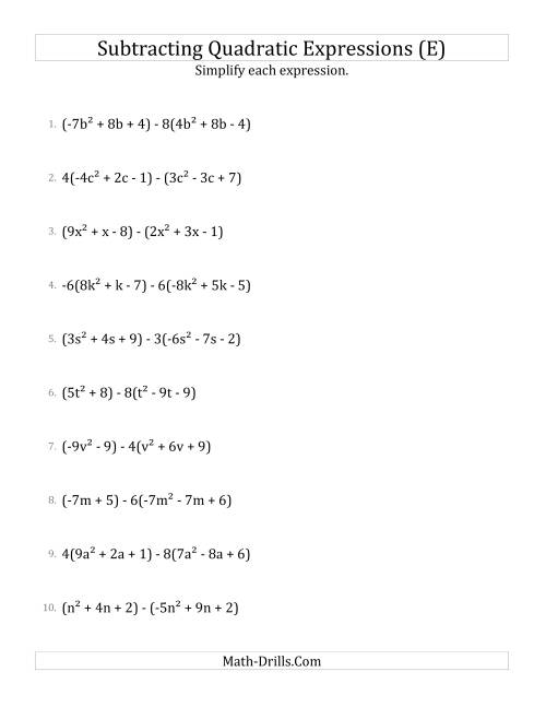 The Subtracting and Simplifying Quadratic Expressions with Some Multipliers (E) Math Worksheet