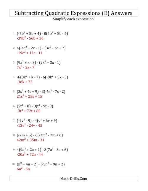 The Subtracting and Simplifying Quadratic Expressions with Some Multipliers (E) Math Worksheet Page 2
