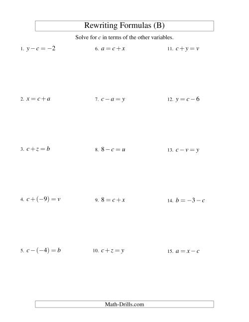 The Rewriting Formulas -- One-Step -- Addition and Subtraction (B) Math Worksheet