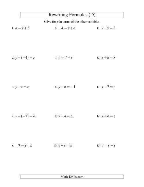 The Rewriting Formulas -- One-Step -- Addition and Subtraction (D) Math Worksheet