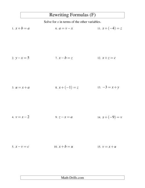 The Rewriting Formulas -- One-Step -- Addition and Subtraction (F) Math Worksheet