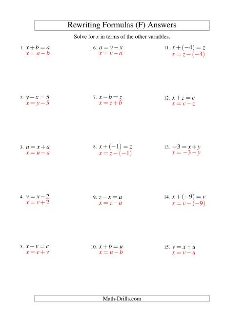 The Rewriting Formulas -- One-Step -- Addition and Subtraction (F) Math Worksheet Page 2