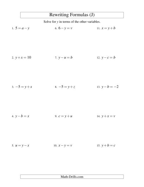 The Rewriting Formulas -- One-Step -- Addition and Subtraction (J) Math Worksheet