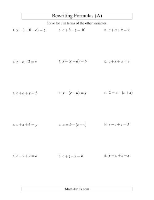 The Rewriting Formulas -- Two-Steps -- Addition and Subtraction (A) Math Worksheet