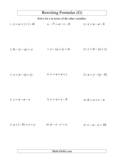 The Rewriting Formulas -- Two-Steps -- Addition and Subtraction (G) Math Worksheet