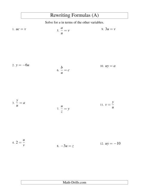 math worksheet : rewriting formulas  one step  multiplication and division a  : Division Equations Worksheet