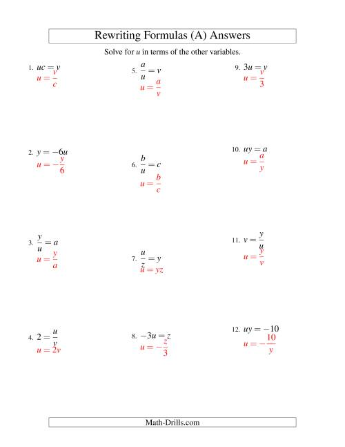 The Rewriting Formulas -- One-Step -- Multiplication and Division (A) Math Worksheet Page 2