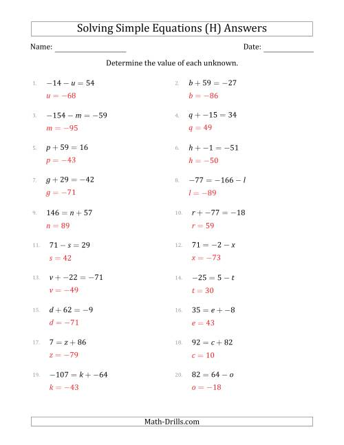 The Solving Simple Linear Equations with Unknown Values Between -99 and 99 and Variables on the Left or Right Side (H) Math Worksheet Page 2