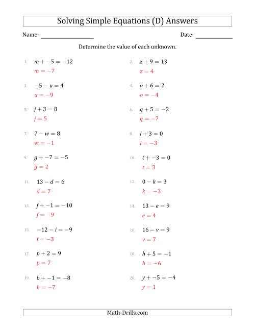The Solving Simple Linear Equations with Unknown Values Between -9 and 9 and Variables on the Left Side (D) Math Worksheet Page 2