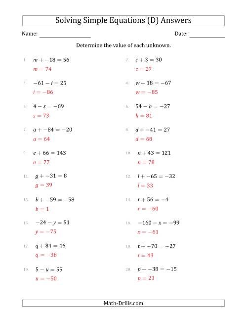 The Solving Simple Linear Equations with Unknown Values Between -99 and 99 and Variables on the Left Side (D) Math Worksheet Page 2