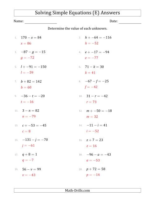 The Solving Simple Linear Equations with Unknown Values Between -99 and 99 and Variables on the Left Side (E) Math Worksheet Page 2