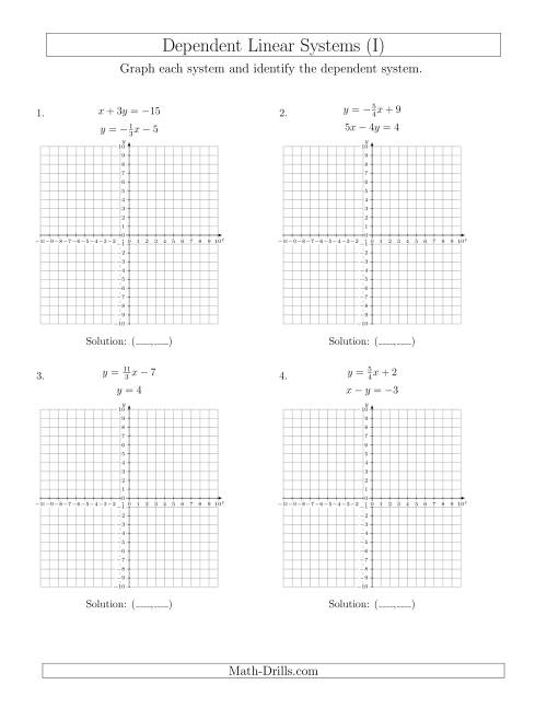 The Dependent Linear Systems (I) Math Worksheet