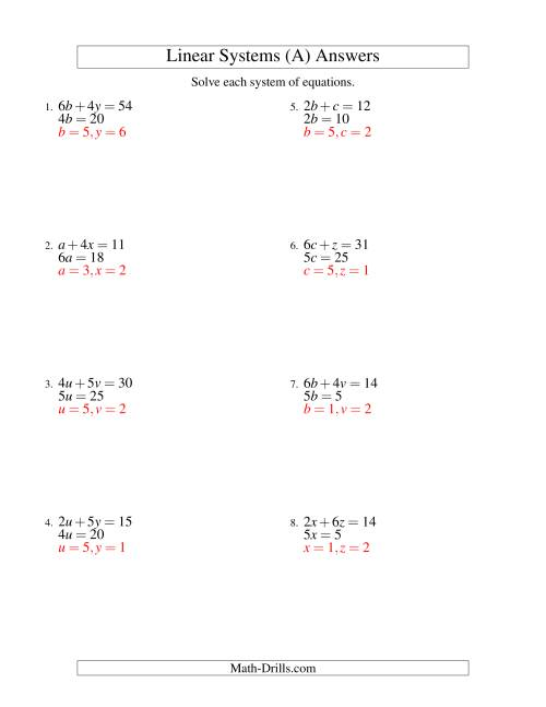 The Systems of Linear Equations -- Two Variables -- Easy (A) Math Worksheet Page 2