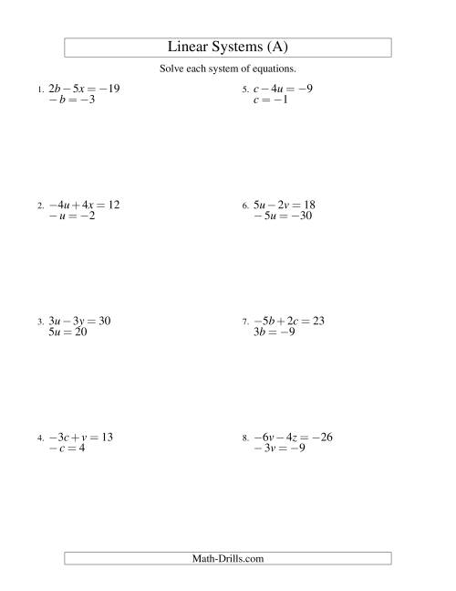 The Systems of Linear Equations -- Two Variables Including Negative Values -- Easy (A) Math Worksheet