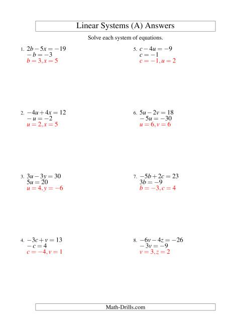 The Systems of Linear Equations -- Two Variables Including Negative Values -- Easy (A) Math Worksheet Page 2