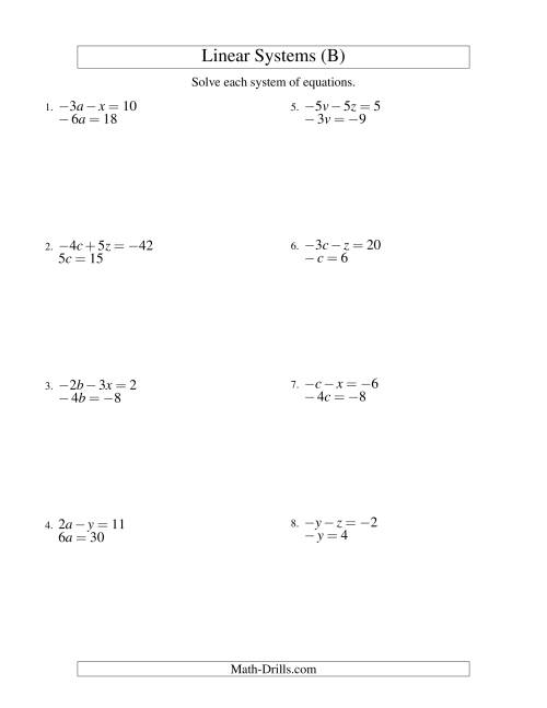 The Systems of Linear Equations -- Two Variables Including Negative Values -- Easy (B) Math Worksheet