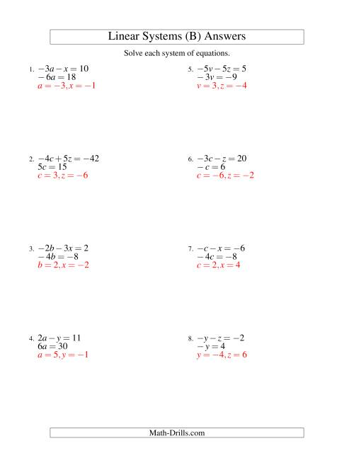 The Systems of Linear Equations -- Two Variables Including Negative Values -- Easy (B) Math Worksheet Page 2