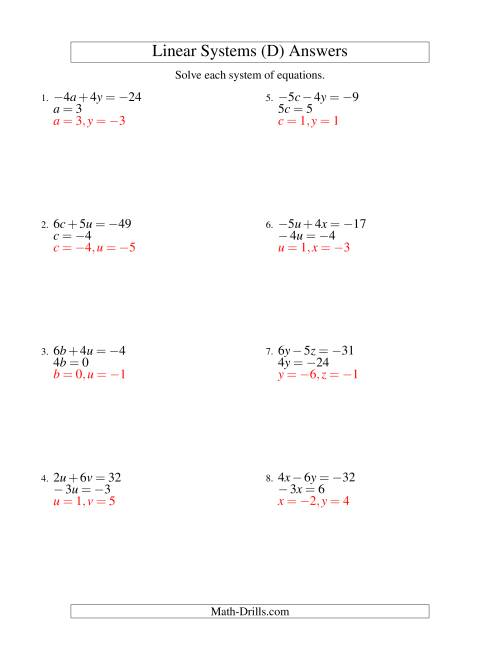 The Systems of Linear Equations -- Two Variables Including Negative Values -- Easy (D) Math Worksheet Page 2