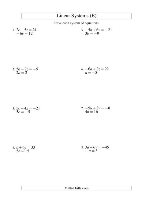 The Systems of Linear Equations -- Two Variables Including Negative Values -- Easy (E) Math Worksheet