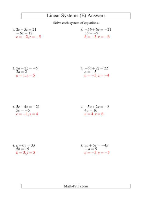 The Systems of Linear Equations -- Two Variables Including Negative Values -- Easy (E) Math Worksheet Page 2