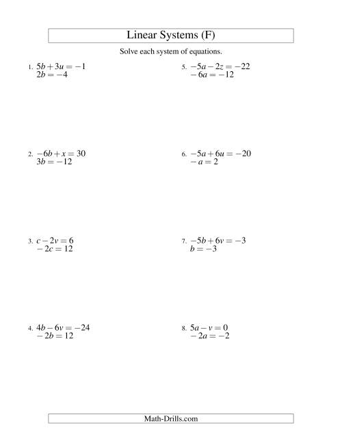 The Systems of Linear Equations -- Two Variables Including Negative Values -- Easy (F) Math Worksheet