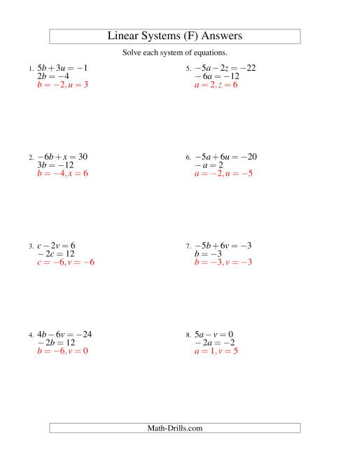 The Systems of Linear Equations -- Two Variables Including Negative Values -- Easy (F) Math Worksheet Page 2