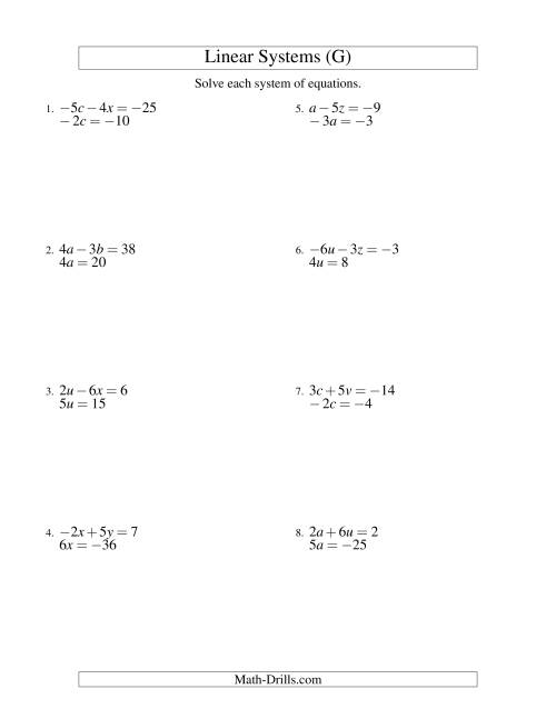 The Systems of Linear Equations -- Two Variables Including Negative Values -- Easy (G) Math Worksheet