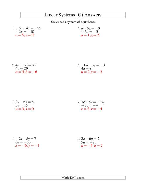 The Systems of Linear Equations -- Two Variables Including Negative Values -- Easy (G) Math Worksheet Page 2