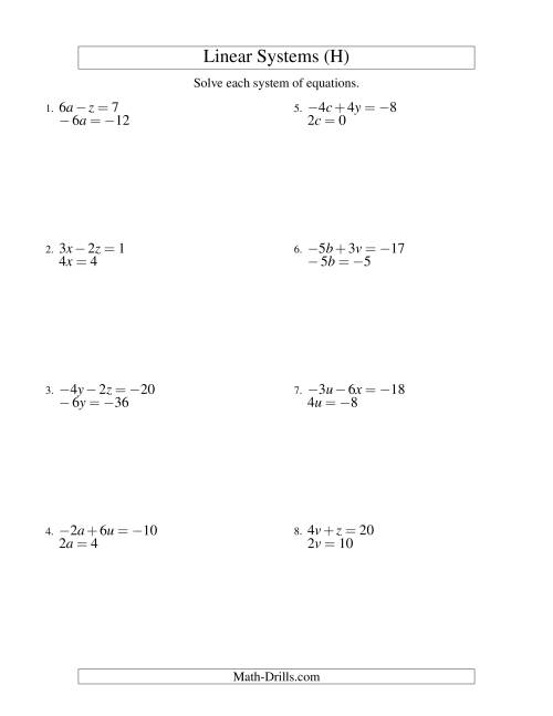 The Systems of Linear Equations -- Two Variables Including Negative Values -- Easy (H) Math Worksheet