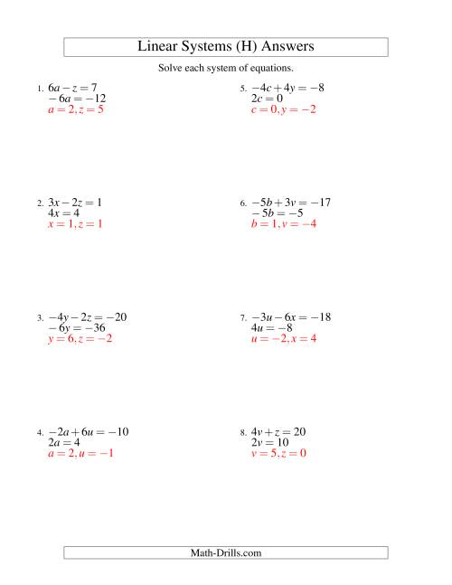 The Systems of Linear Equations -- Two Variables Including Negative Values -- Easy (H) Math Worksheet Page 2
