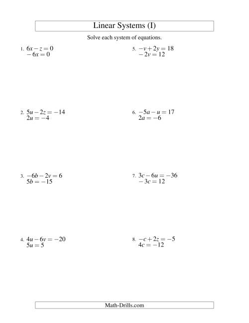 The Systems of Linear Equations -- Two Variables Including Negative Values -- Easy (I) Math Worksheet