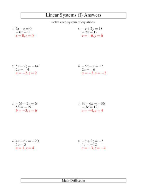 The Systems of Linear Equations -- Two Variables Including Negative Values -- Easy (I) Math Worksheet Page 2
