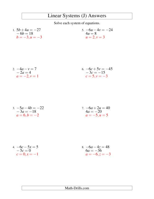 The Systems of Linear Equations -- Two Variables Including Negative Values -- Easy (J) Math Worksheet Page 2