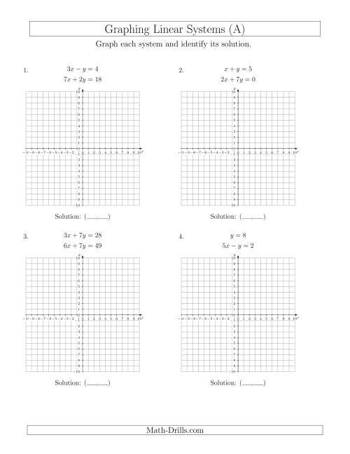 worksheet Graphing Practice solve systems of linear equations by graphing standard a