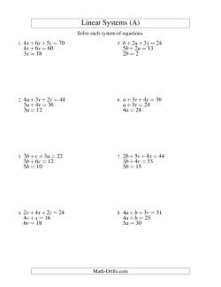 Systems of Linear Equations -- Three Variables -- Easy