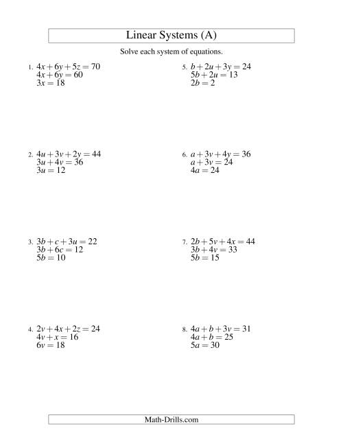 The Systems of Linear Equations -- Three Variables -- Easy (A) Math Worksheet