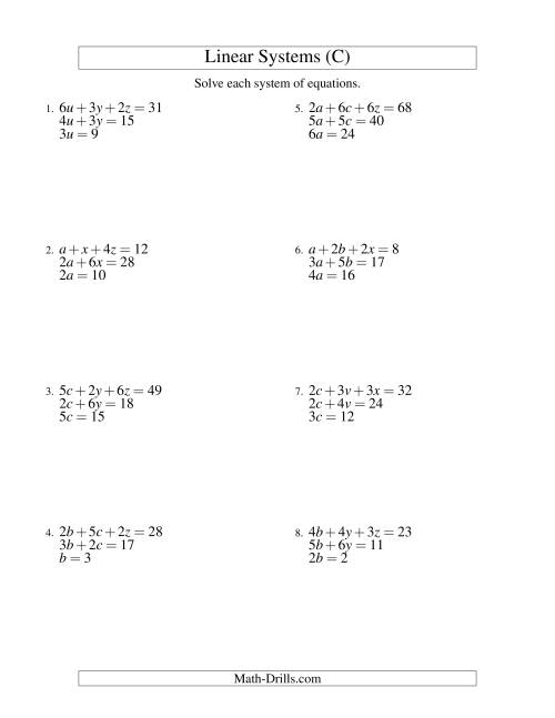 The Systems of Linear Equations -- Three Variables -- Easy (C) Math Worksheet