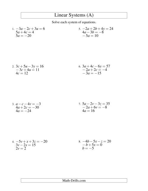 The Systems of Linear Equations -- Three Variables Including Negative Values -- Easy (A) Algebra Worksheet