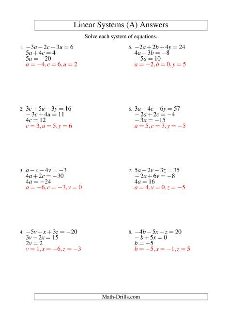 Systems Of Linear Equations Three Variables Including Negative