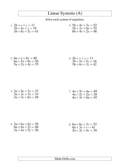 The Systems of Linear Equations -- Three Variables (A) Math Worksheet