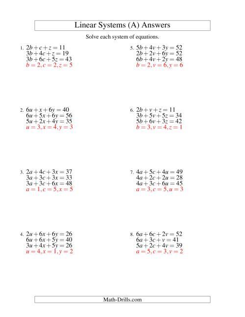 ... The Systems of Linear Equations -- Three Variables (A) Math Worksheet Page 2