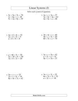 systems of linear equations three variables j algebra worksheet. Black Bedroom Furniture Sets. Home Design Ideas