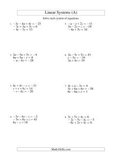 Systems of Linear Equations -- Three Variables Including Negative Values